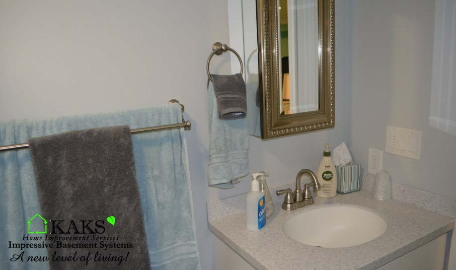 bathroom vanity sink in remodeled basement lynn ma kaks basement
