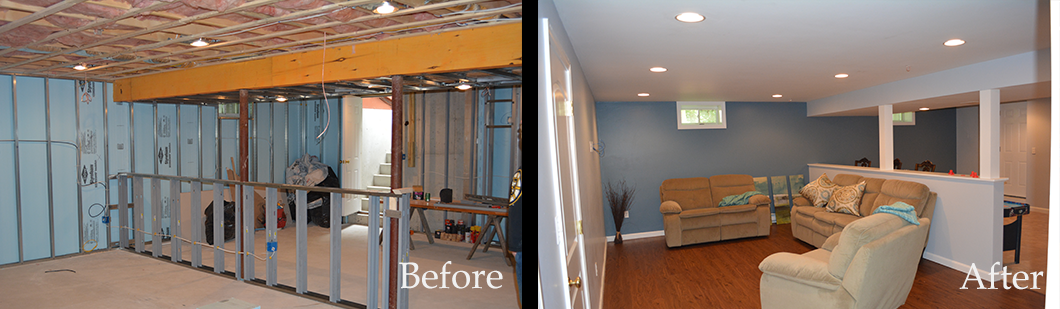 Complete Basement Remodel Before & After