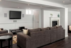 a finished basement in Hingham Ma