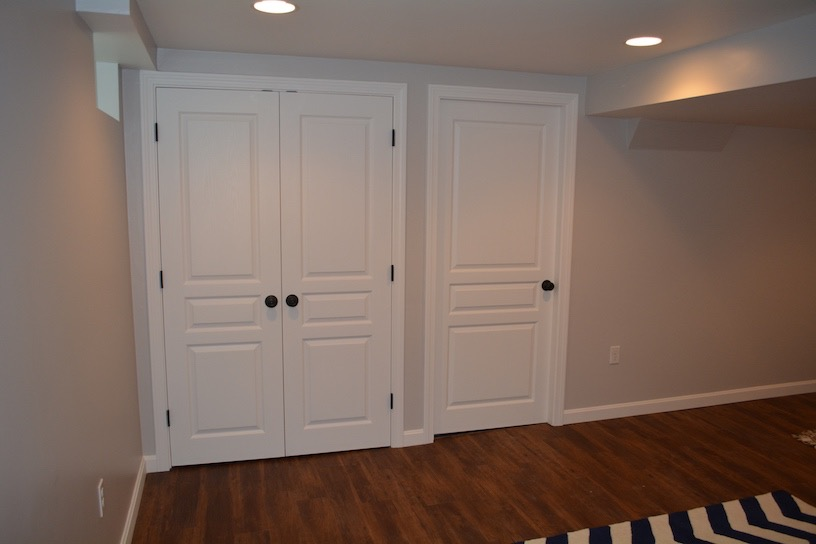 Boxford Ma. Basement closet space in living room area.