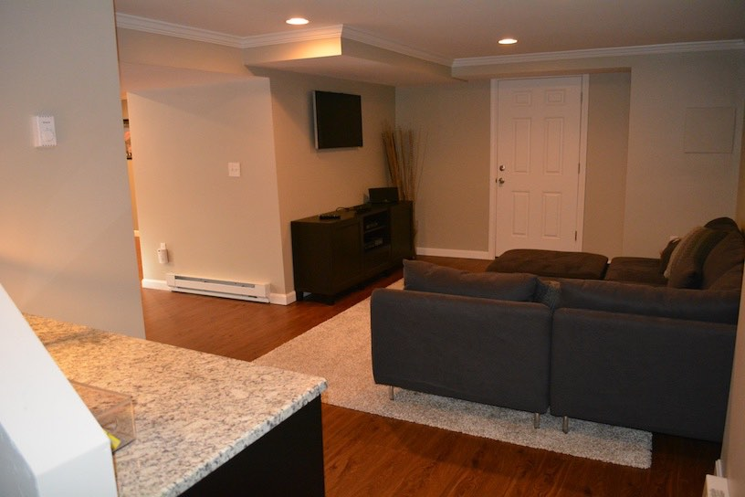 Basement Finish Bridgewater Ma. Living room.  By KAKS
